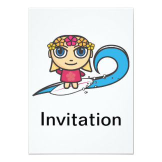 Surfer Girl Cartoon Character Invitation