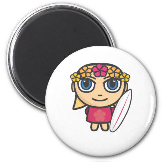 Surfer Girl Cartoon Character Magnet