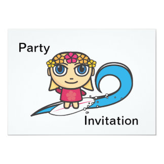 Surfer Girl Cartoon Character Party Invitation