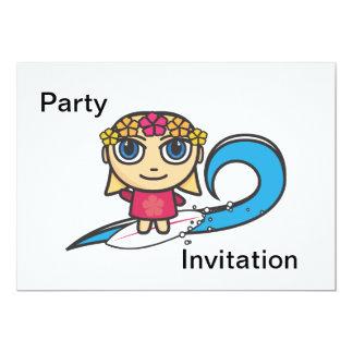 Surfer Girl Cartoon Character Party Invitation