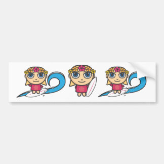 Surfer Girl Cartoon Character Stickers