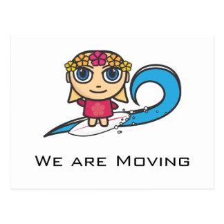 Surfer Girl Cartoon Character We Are Moving Postcard