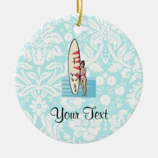Surfer Girl Ceramic Ornament