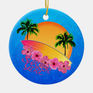 Surfer Girl Ceramic Ornament