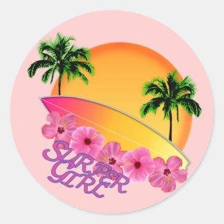 Surfer Girl Classic Round Sticker