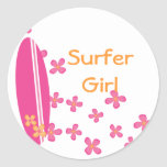 Surfer Girl Classic Round Sticker