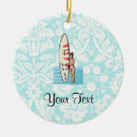 Surfer Girl Double-Sided Ceramic Round Christmas Ornament
