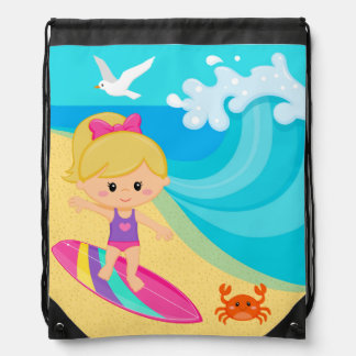 Surfer girl drawstring bag