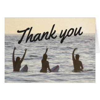 Surfer Girl Friends Thank You Notecard Stationery Note Card