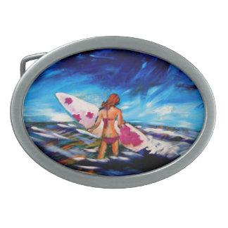 Surfer Girl Oval Belt Buckle