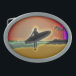 "Surfer Girl Oval Belt Buckle<br><div class=""desc"">designer one of a kind surfer belt buckle a great gift for the sport surfing lover in your life or treat yourself to our one of a kind neon digitally enhanced beach and surfer girl with surfboard</div>"