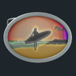 """Surfer Girl Oval Belt Buckle<br><div class=""""desc"""">designer one of a kind surfer belt buckle a great gift for the sport surfing lover in your life or treat yourself to our one of a kind neon digitally enhanced beach and surfer girl with surfboard</div>"""