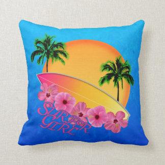 Surfer Girl Throw Pillows