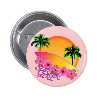 Surfer Girl Pinback Button