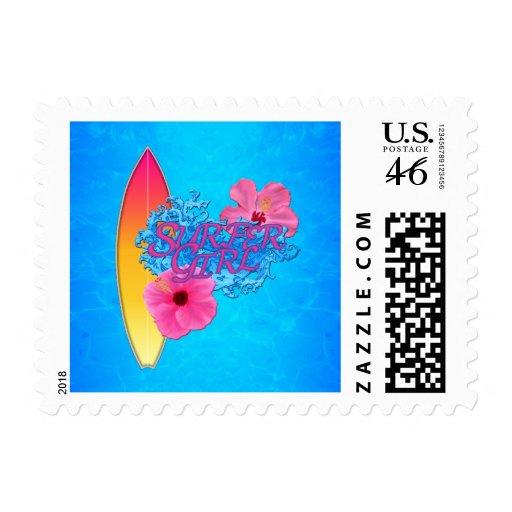 Surfer Girl Postage Stamps