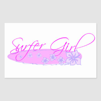 Surfer Girl Rectangular Sticker