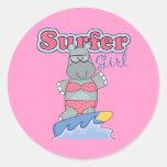 Surfer Girl Round Sticker
