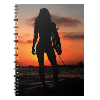 Surfer Girl Sihlouette Notebook
