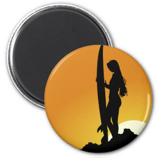 Surfer girl Silhouette 2 Inch Round Magnet
