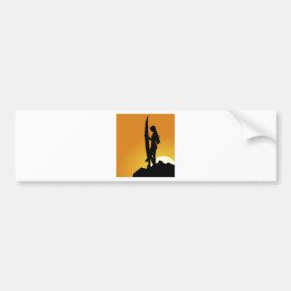 Surfer girl Silhouette Bumper Sticker