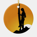 Surfer girl Silhouette Ceramic Ornament