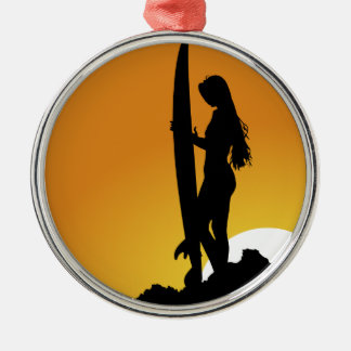 Surfer girl Silhouette Metal Ornament