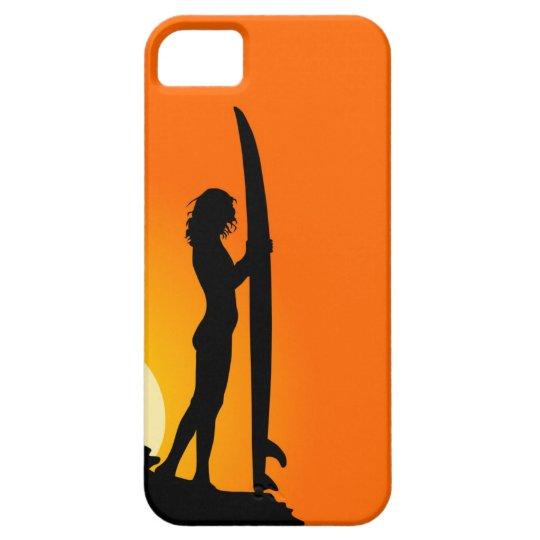 Surfer girl silhouette retro vintage graphic case