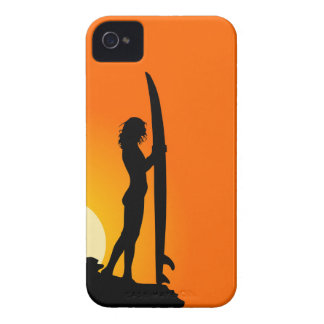 Surfer girl silhouette retro vintage graphic case iPhone 4 cover