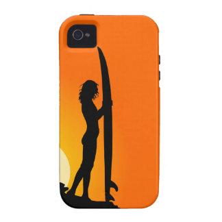 Surfer girl silhouette retro vintage graphic case Case-Mate iPhone 4 cases