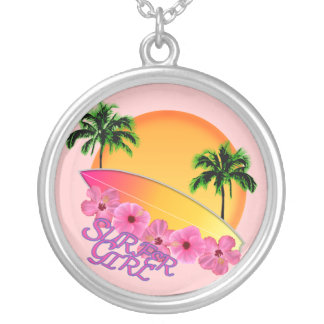 Surfer Girl Silver Plated Necklace