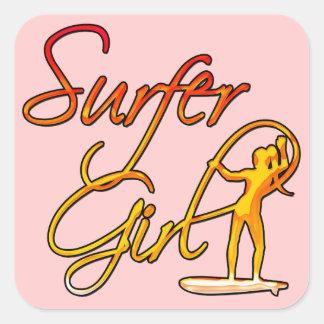 Surfer Girl Square Sticker
