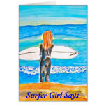 Surfer girl stationery note card