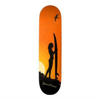 surfer girl sunset beach skateboard