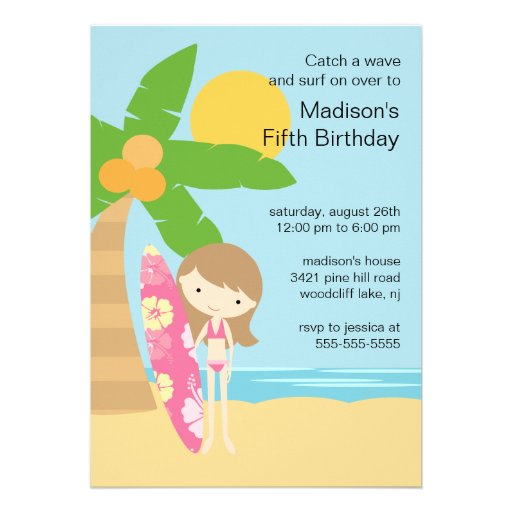 surfer girl swimming party birthday invitation - Swimming Party Invitations