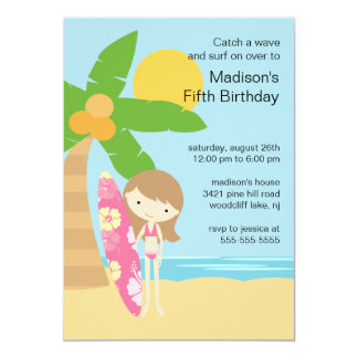 Surfer Girl Swimming Party Birthday Invitation