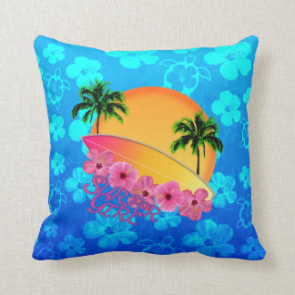 Surfer Girl Throw Pillow