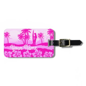 Beach Themed Surfer girl with palm trees bag tag