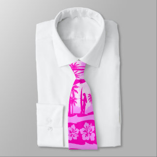 Surfer girl with palm trees neck tie