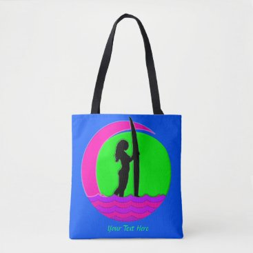 Beach Themed Surfer Girl with Surfboard, Sunset and Wave Tote Bag