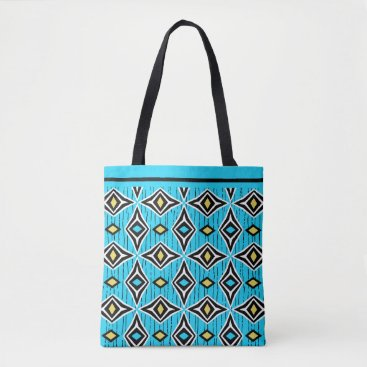 Aztec Themed Surfer girl yellow and blue boho tote bag