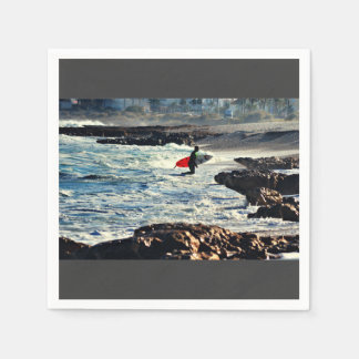 Surfer heads for shore standard cocktail napkin