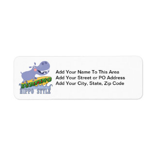 Surfer Hippopotamus Return Address Labels