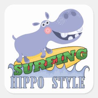Surfer Hippopotamus Sticker