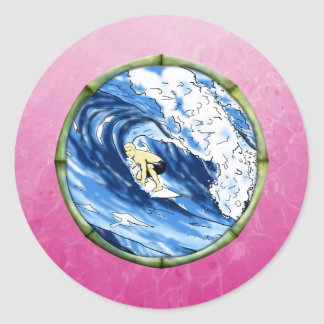 Surfer In Bamboo Circle Classic Round Sticker