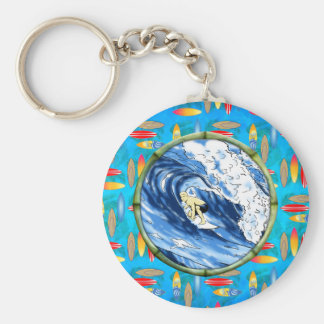 Surfer In Bamboo Circle Keychains