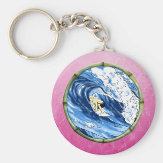 Surfer In Bamboo Circle Key Chain
