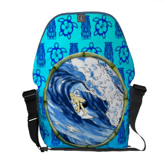 Surfer In Bamboo Circle Messenger Bag