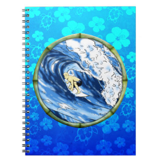 Surfer In Bamboo Circle Notebook