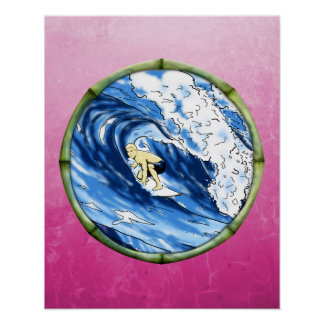 Surfer In Bamboo Circle Poster