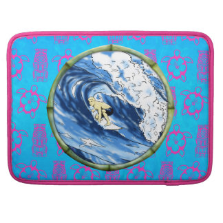Surfer In Bamboo Circle Sleeve For MacBooks
